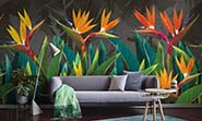 «Tropical flowers strelitzia dark» wall mural | Modern Premium Design in interior
