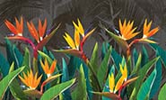 «Tropical flowers strelitzia dark» wall mural | Modern Premium Design