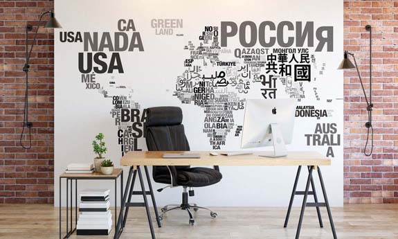 «Words World Map» wall mural | Modern Premium Design