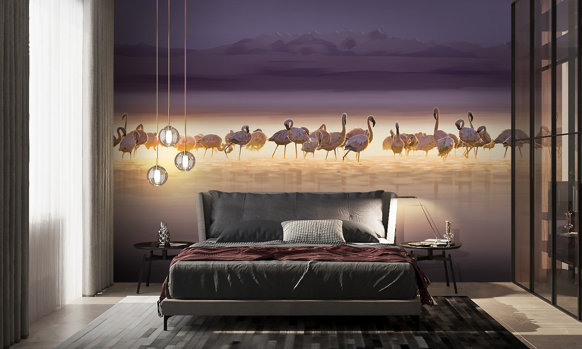«Flamingo dark» wall mural | Modern Premium Design
