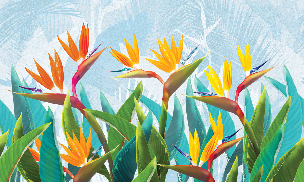 «Tropical flowers strelitzia» wall mural | Modern Premium Design