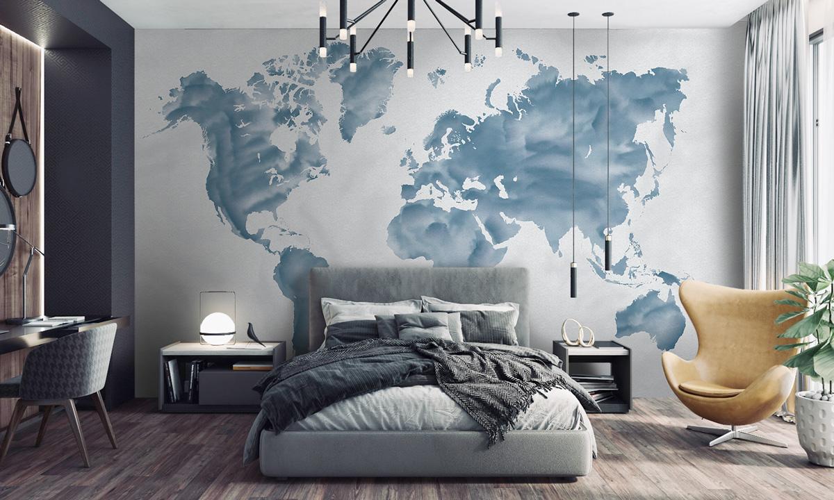 Watercolor World Map Wall Mural Modern Premium Design